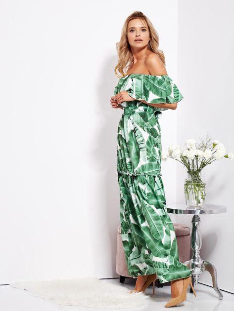 Biało-zielona sukienka hiszpanka maxi w tropikalne liście                              zdj.                              8