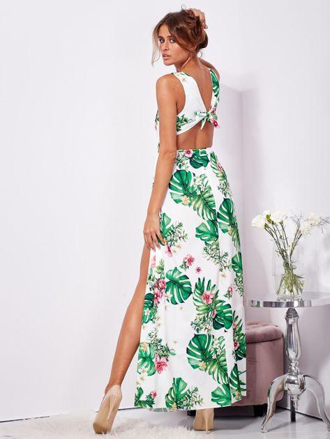 SCANDEZZA Biało-zielona sukienka maxi floral print z rozcięciem                              zdj.                              2