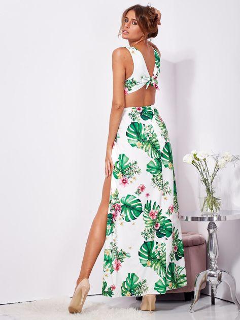 Biało-zielona sukienka maxi floral print z rozcięciem                              zdj.                              6