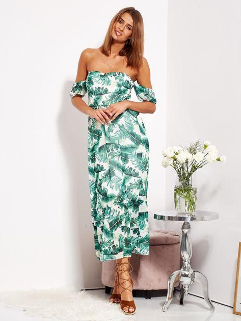 SCANDEZZA Biało-zielona sukienka maxi off shoulder w liście                              zdj.                              8