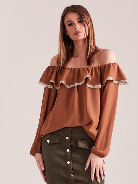 SCANDEZZA Brązowa bluzka hiszpanka                              zdj.                              4