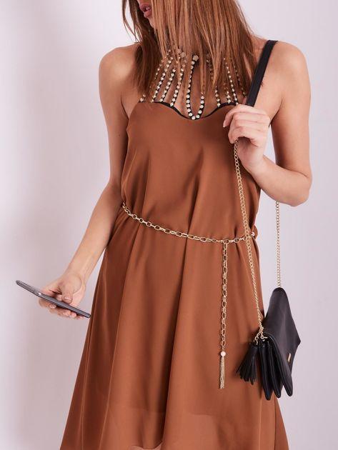 SCANDEZZA Brązowa sukienka z aplikacją                              zdj.                              6