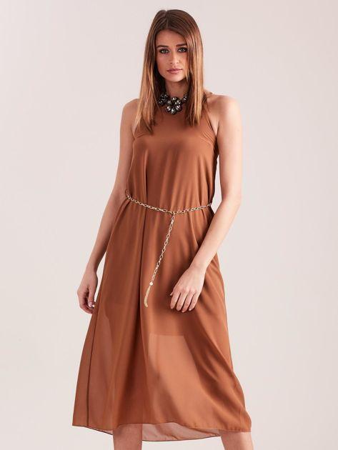 SCANDEZZA Brązowa sukienka z ozdobnym dekoltem                              zdj.                              4