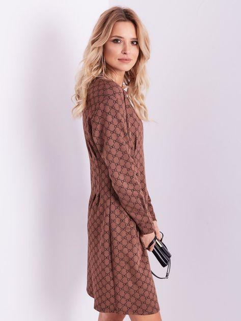 SCANDEZZA Brązowa sukienka ze wzorem                              zdj.                              6