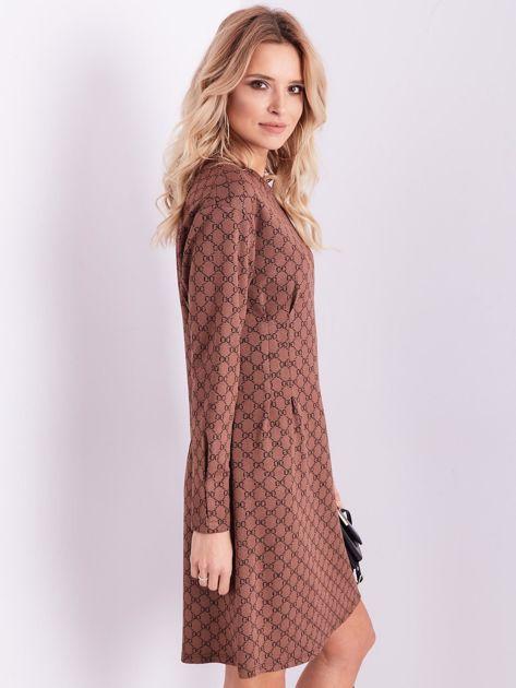 SCANDEZZA Brązowa sukienka ze wzorem                              zdj.                              8