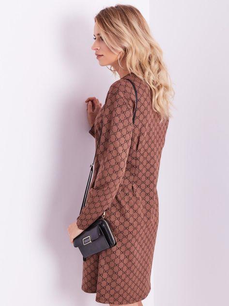 SCANDEZZA Brązowa sukienka ze wzorem                              zdj.                              9
