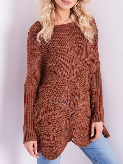 SCANDEZZA Brązowy luźny sweter z ażurowaniem                              zdj.                              2