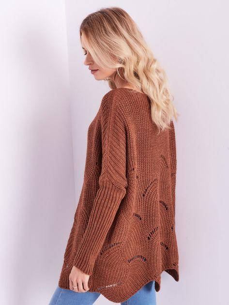 SCANDEZZA Brązowy luźny sweter z ażurowaniem                              zdj.                              10