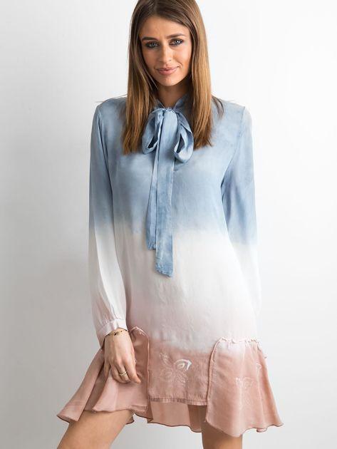 Ciemnoniebieska sukienka ombre                               zdj.                              1