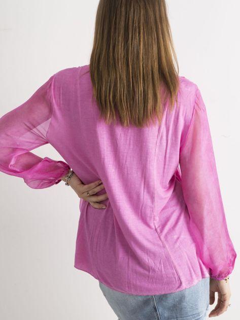 Ciemnoróżowa bluzka z żabotem                              zdj.                              2