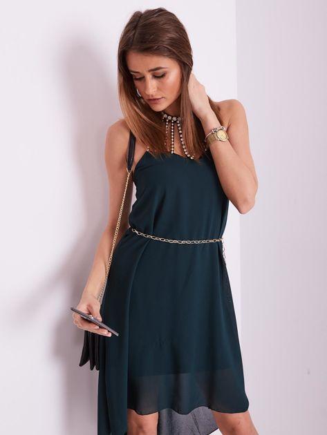 Ciemnozielona sukienka z aplikacją                              zdj.                              10