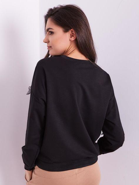 SCANDEZZA Czarna bluza z aplikacją                              zdj.                              3
