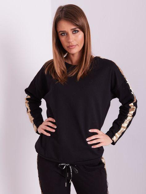 SCANDEZZA Czarna bluza ze złotymi cekinami                              zdj.                              2