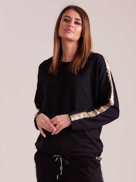 SCANDEZZA Czarna bluza ze złotymi cekinami                              zdj.                              6