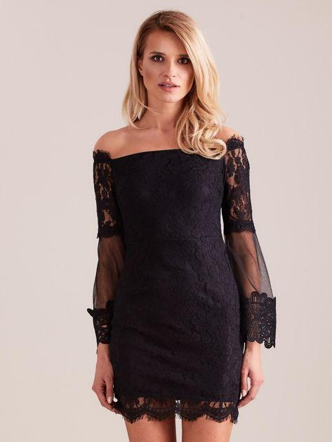 SCANDEZZA Czarna koronkowa sukienka                              zdj.                              4