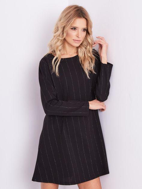 SCANDEZZA Czarna sukienka o luźnym kroju                              zdj.                              4