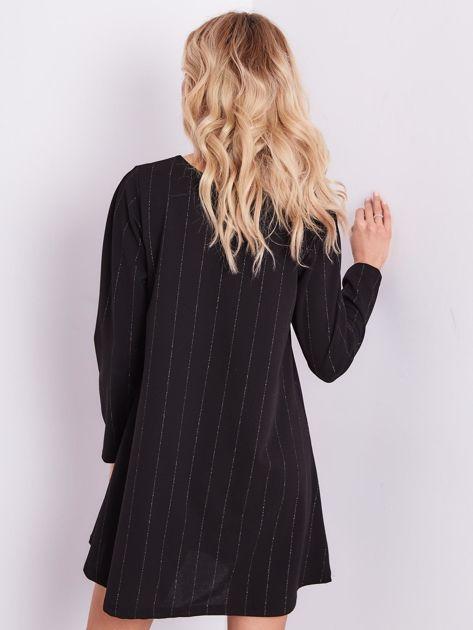 SCANDEZZA Czarna sukienka o luźnym kroju                              zdj.                              7
