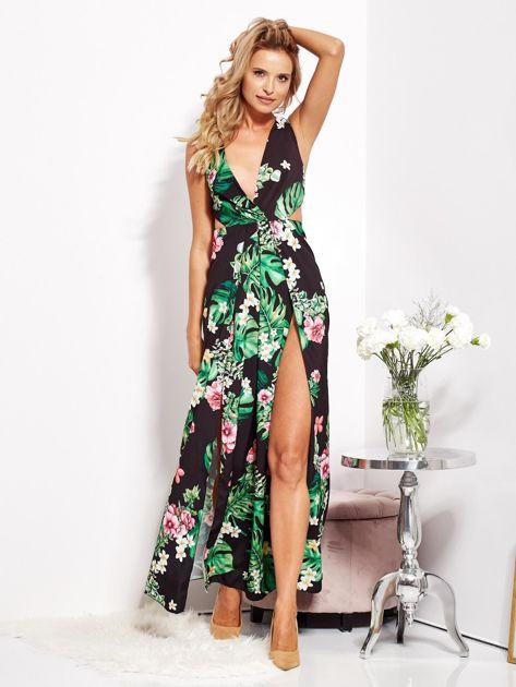 Czarna sukienka w kwiaty z rozcięciem i wiązaniem                              zdj.                              11