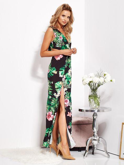 Czarna sukienka w kwiaty z rozcięciem i wiązaniem                              zdj.                              5
