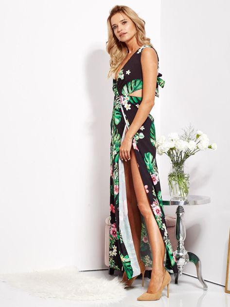Czarna sukienka w kwiaty z rozcięciem i wiązaniem                              zdj.                              8
