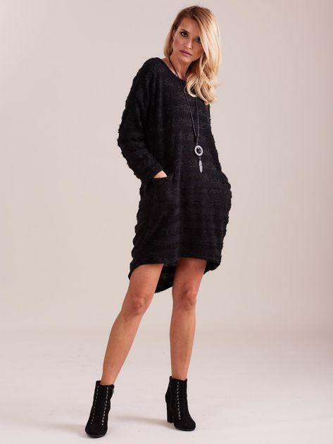 Czarna sukienka w paski                              zdj.                              1