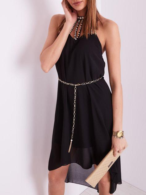 SCANDEZZA Czarna sukienka z aplikacją                              zdj.                              1