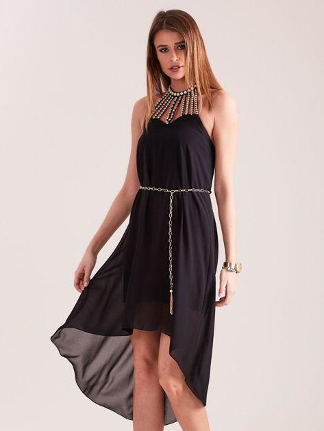SCANDEZZA Czarna sukienka z aplikacją                              zdj.                              2