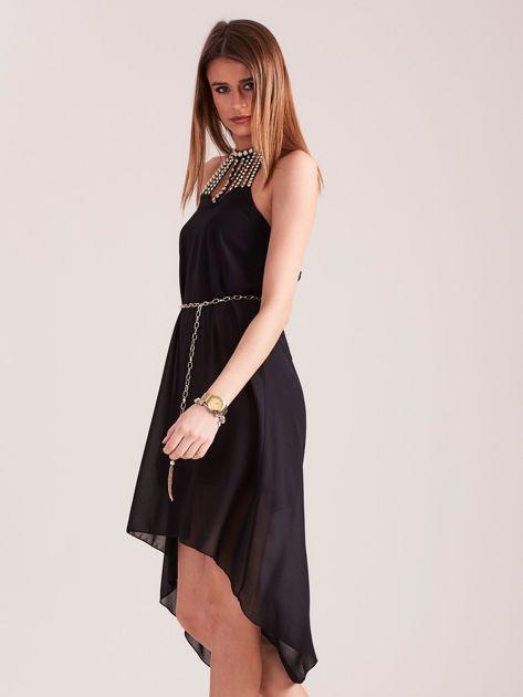 Czarna sukienka z aplikacją                              zdj.                              5