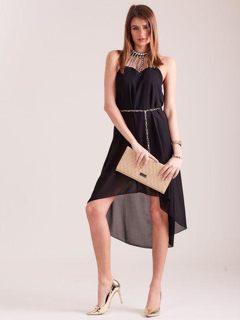 Czarna sukienka z aplikacją                              zdj.                              1