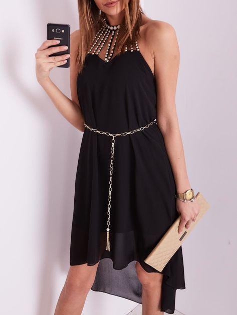 Czarna sukienka z aplikacją                              zdj.                              7