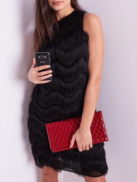 SCANDEZZA Czarna sukienka z frędzlami                               zdj.                              1
