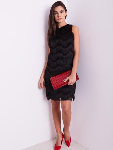 SCANDEZZA Czarna sukienka z frędzlami                               zdj.                              5
