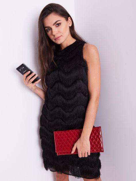 SCANDEZZA Czarna sukienka z frędzlami                               zdj.                              13
