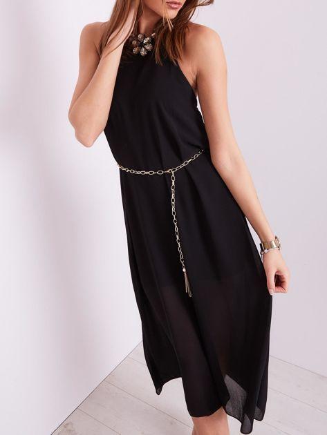 SCANDEZZA Czarna sukienka z ozdobnym dekoltem                              zdj.                              1
