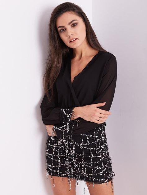 Czarna sukienka ze srebrnymi cekinami                              zdj.                              7