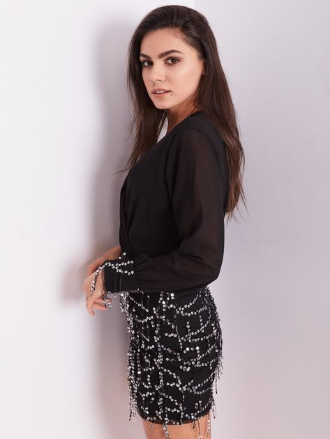 Czarna sukienka ze srebrnymi cekinami                              zdj.                              5