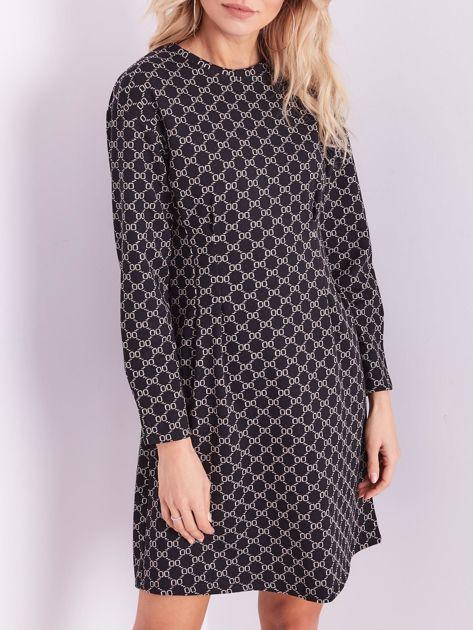 SCANDEZZA Czarna sukienka ze wzorem                              zdj.                              2