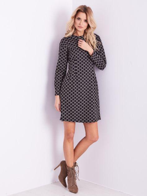 Czarna sukienka ze wzorem                              zdj.                              11