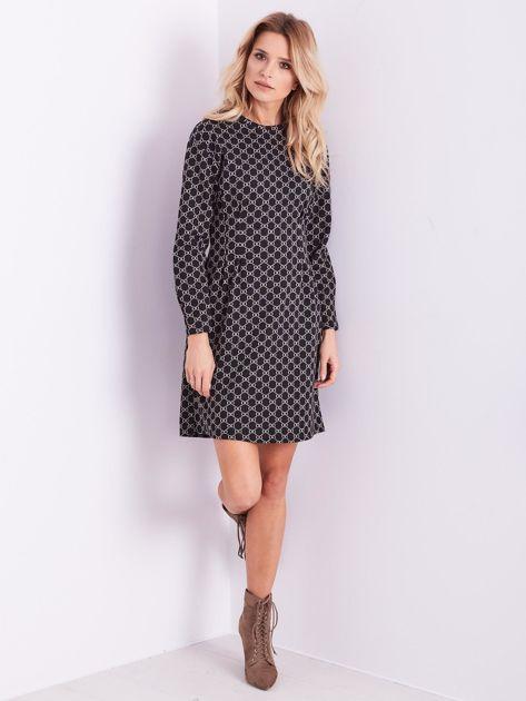 Czarna sukienka ze wzorem                              zdj.                              12