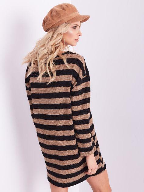 Czarno-brązowa sukienka dzianinowa w paski                              zdj.                              10