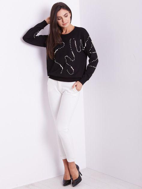 Czarny sweter z perełkami                              zdj.                              8