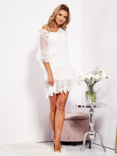 Ecru sukienka koronkowa z halką                              zdj.                              6