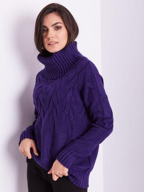 SCANDEZZA Fioletowy sweter golf w warkocze                              zdj.                              5