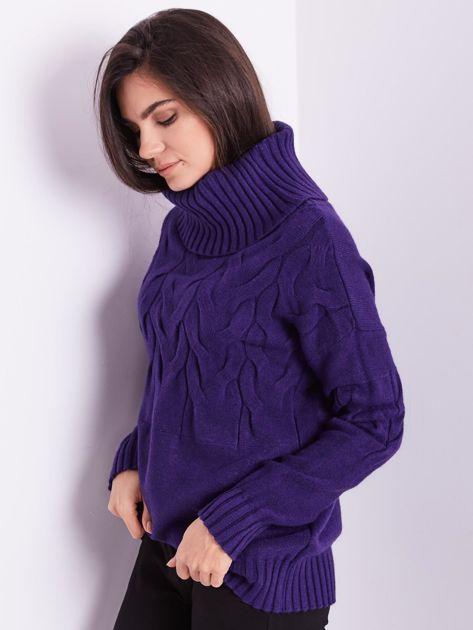 Fioletowy sweter golf w warkocze                              zdj.                              7