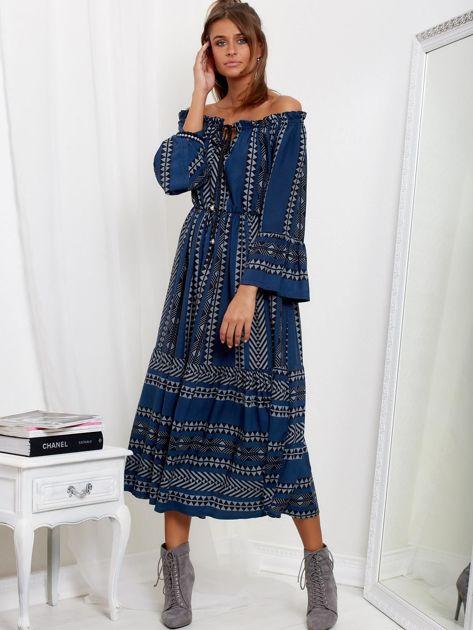 Granatowa sukienka maxi hiszpanka ze wzorem                              zdj.                              1