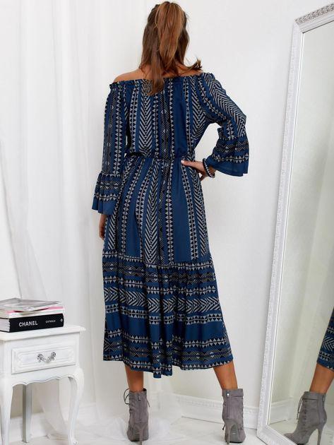 SCANDEZZA Granatowa sukienka maxi hiszpanka ze wzorem                              zdj.                              2