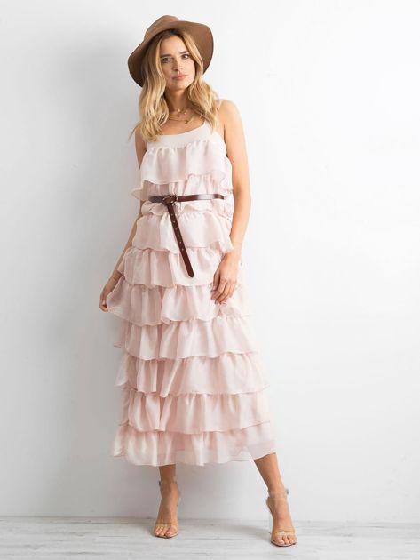 Jasnoróżowa sukienka z falbanami                              zdj.                              1