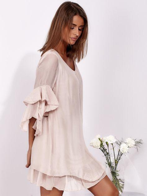 SCANDEZZA Jasnoróżowa zwiewna sukienka z hiszpańskimi rękawami                              zdj.                              5