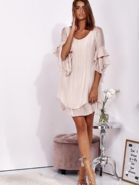 SCANDEZZA Jasnoróżowa zwiewna sukienka z hiszpańskimi rękawami                              zdj.                              4
