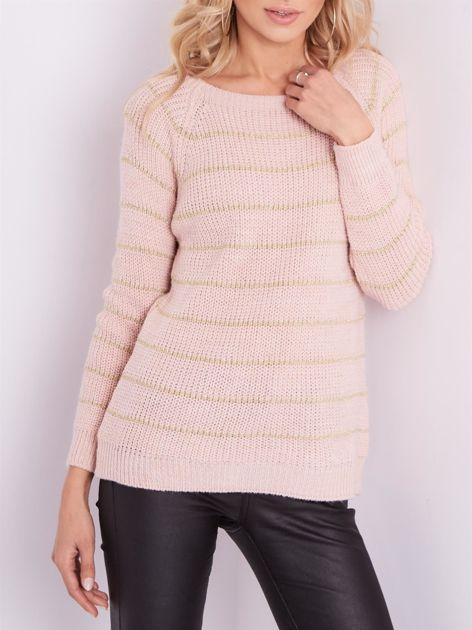Jasnoróżowy sweter z błyszczącą nitką                              zdj.                              2